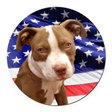 American pitbull puppy Round Car Magnet