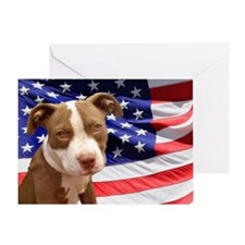 American pitbull puppy Greeting Card