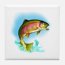Jumping Rainbow Trout Tile Coaster