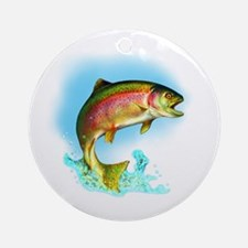 Jumping Rainbow Trout Ornament (Round)
