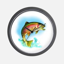 Jumping Rainbow Trout Wall Clock