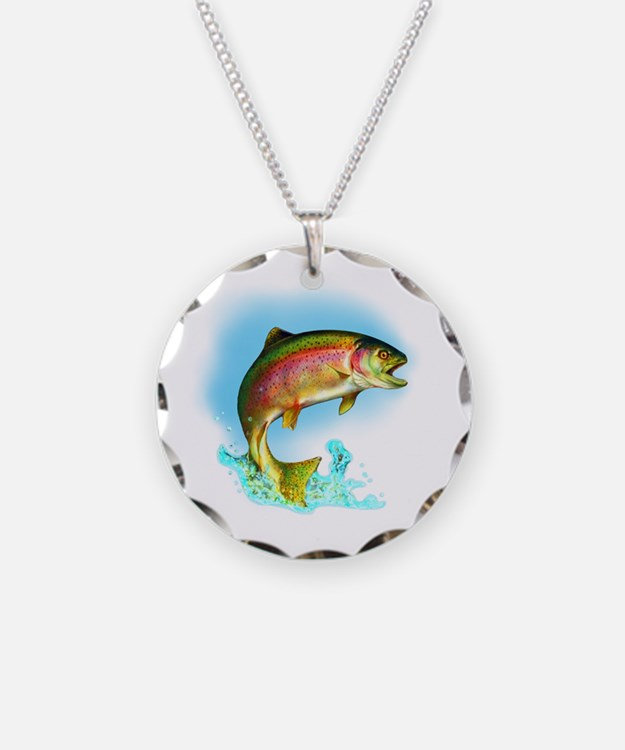 Jumping Rainbow Trout Necklace