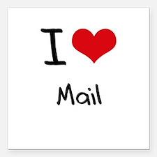 "I Love Mail Square Car Magnet 3"" x 3"""