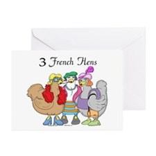 3 French Hens Greeting Cards (Pk of 10)