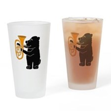 Black Bear Playing Tuba Drinking Glass