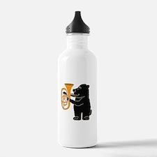 Black Bear Playing Tuba Water Bottle