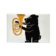 Black Bear Playing Tuba Rectangle Magnet