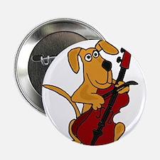 """Dog Playing Cello 2.25"""" Button"""