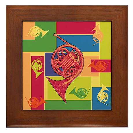 French Horn Colorblocks Framed Tile
