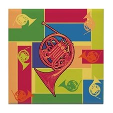 French Horn Colorblocks Tile Coaster