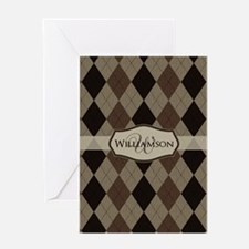 Cute Argyle monogram Greeting Card