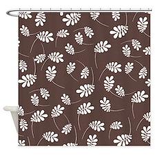 Modern White Leaf on Brown Shower Curtain