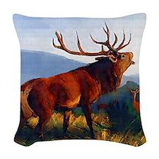 Bugling Elk Woven Throw Pillow