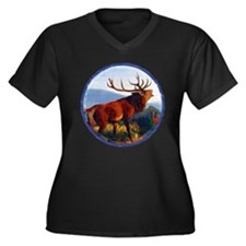 Bugling Elk Women's Plus Size V-Neck Dark T-Shirt