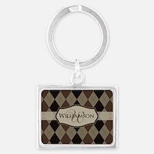 Brown Argyle Monogram Name Keychains