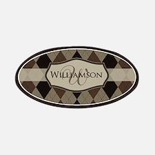 Brown Argyle Monogram Name Patches