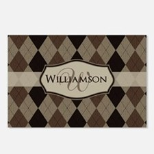 Brown Argyle Monogram Name Postcards (Package of 8