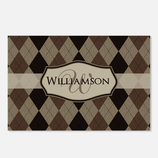 Brown Argyle Monogram Name Postcards (Package of 8