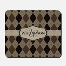 Brown Argyle Monogram Name Mousepad