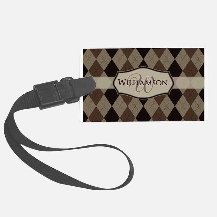 Brown Argyle Monogram Name Luggage Tag