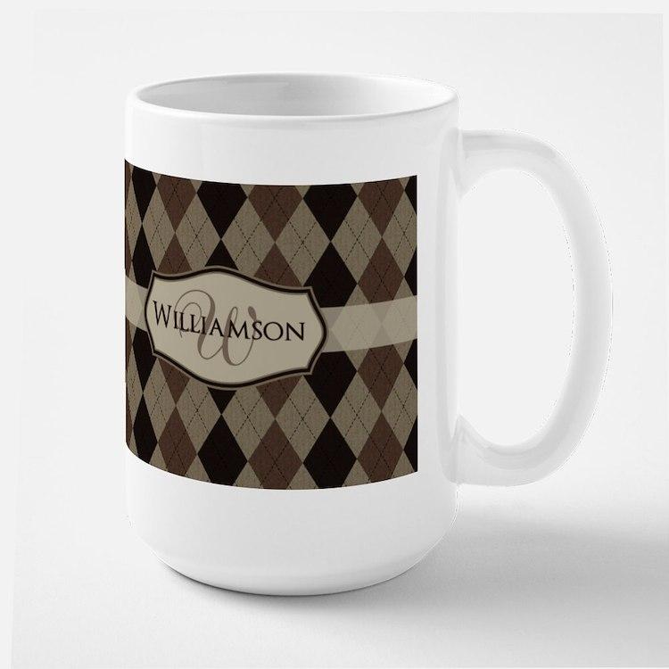 Brown Argyle Monogram Name Mug