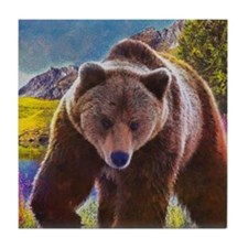 Grizzly Bear Territory Tile Coaster
