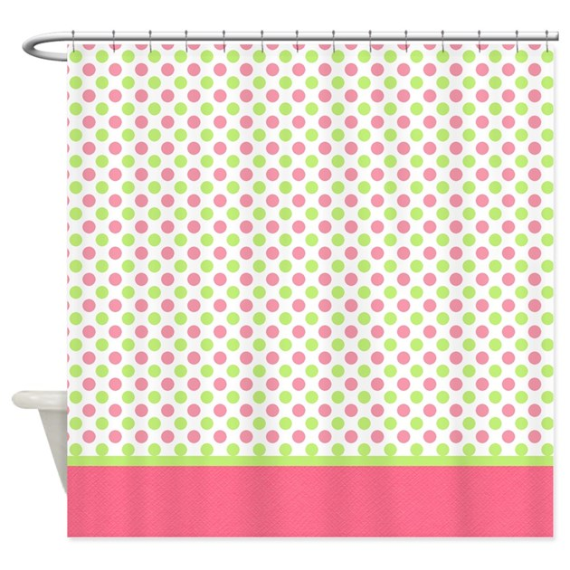green pink polka dot shower curtain by marlodeedesignsshowercurtains. Black Bedroom Furniture Sets. Home Design Ideas