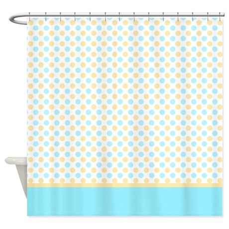 Blue And Yellow Polka Dots Shower Curtain By Marlodeedesignsshowercurtains