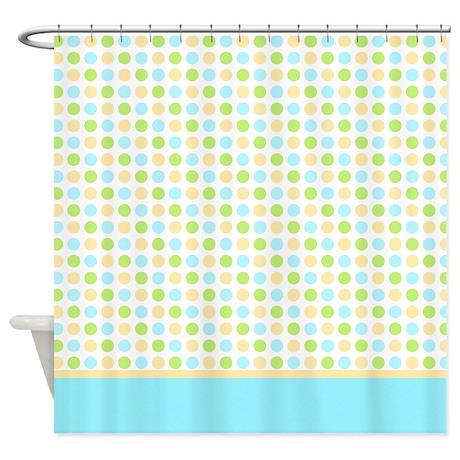 Blue Yellow Green Polka Dot Shower Curtain By Marlodeedesignsshowercurtains