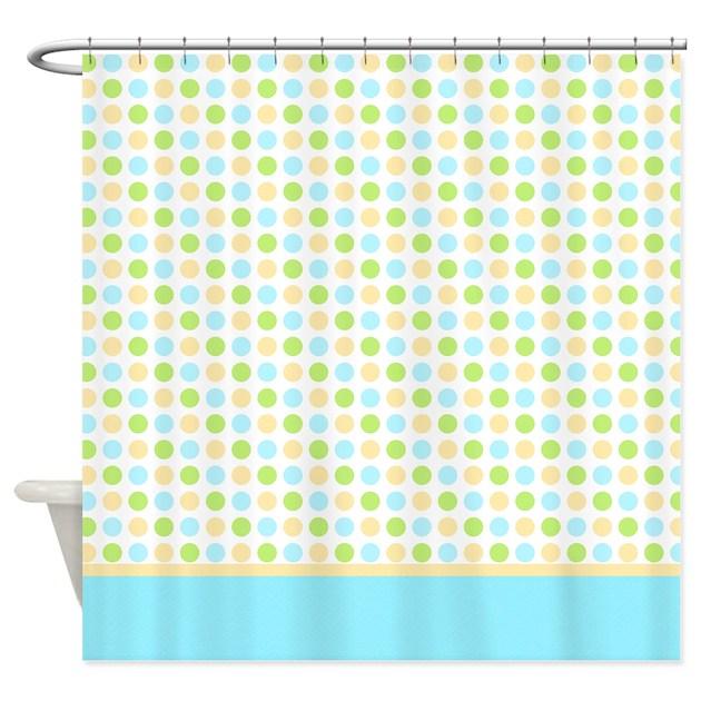 blue yellow green polka dot shower curtain by marlodeedesignsshowercurtains. Black Bedroom Furniture Sets. Home Design Ideas