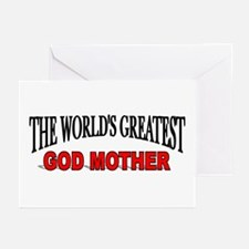 """""""The World's Greatest God Mother"""" Greeting Cards ("""
