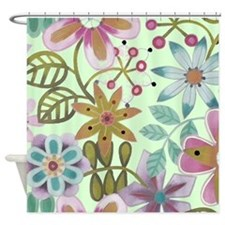 Mint Green Big Flowers Floral Shower Curtain