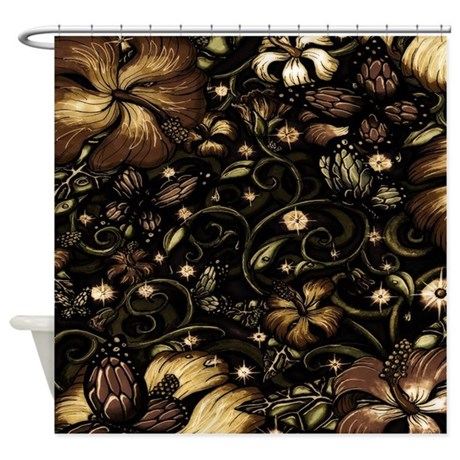 Brown And Cream Hibiscus Flowers Shower Curtain By Sportsmanhill