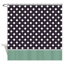 Dark Purple with White Dots 2 Shower Curtain