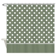 Green with White Dots 2 Shower Curtain