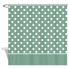 Green with White Dots 4 Shower Curtain