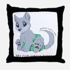My cub wears cloth 1 (purple) Throw Pillow