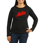 Midrealm Red Retro Women's Long Sleeve Dark T-Shir