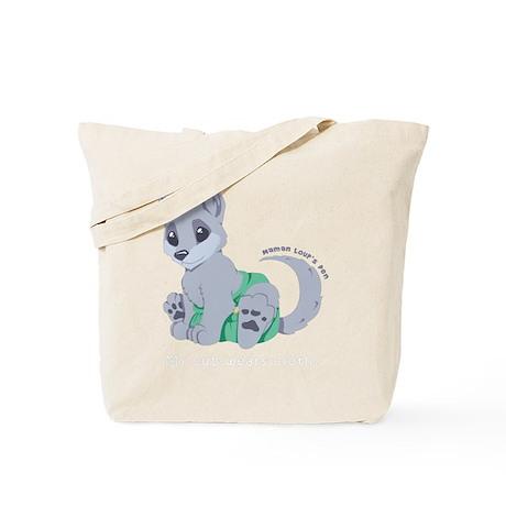 My cub wears cloth 1 (white) Tote Bag