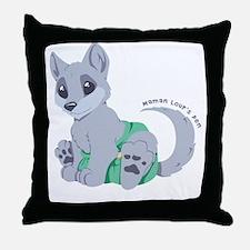 My cub wears cloth 1 (white) Throw Pillow