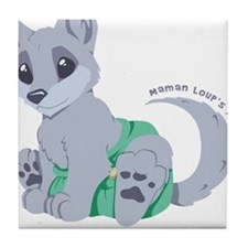 My cub wears cloth 1 (white) Tile Coaster