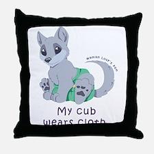 My cub wears cloth 2 (purple) Throw Pillow