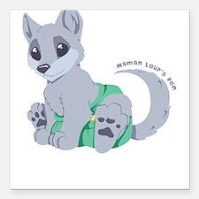 "My cub wears cloth 2 (white) Square Car Magnet 3"""