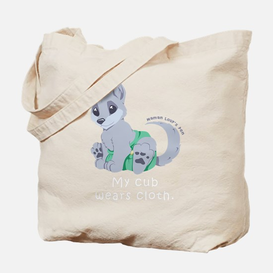 My cub wears cloth 2 (white) Tote Bag