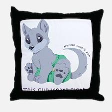 This cub wears cloth 1 (purple) Throw Pillow