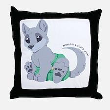 This cub wears cloth 1 (white) Throw Pillow