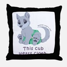 This cub wears cloth 2 (purple) Throw Pillow