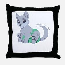 This cub wears cloth 2 (white) Throw Pillow