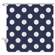 Dark Blue with Big White Dots Shower Curtain