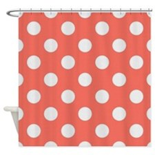 Coral with Big White Dots Shower Curtain